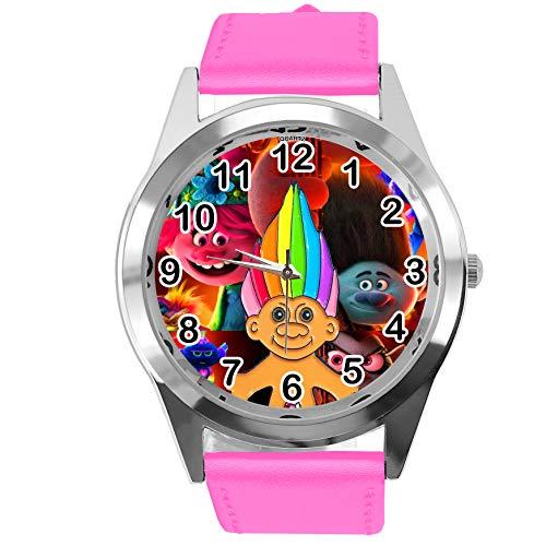 Reloj redondo de cuero rosa caliente para los fanáticos de los enanos