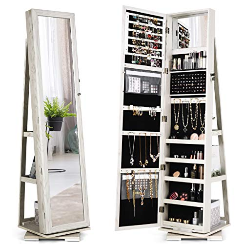 CHARMAID 360° Rotating Jewelry Armoire with Higher Full Length Mirror, Standing Lockable Jewelry Cabinet Organizer with Large Storage Capacity, Inside Makeup Mirror, Bonus Storage Shelves (White)