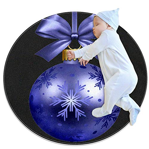 Yuzheng Christmas Tree Decoration Ball Purple Round Area Rugs Super Soft Carpet Best Gift for Kids to Decorate Living Room Bedroom Home Office 3feet 4inch