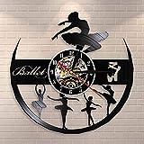 Njuxcnhg Schallplatte Wanduhr, Retro Wanduhr, Anime Wanduhr,Ballerine Fille pépinière Filles Chambre Wall Art décoratif Montre Danse Filles Ballet Danseurs Cadeau