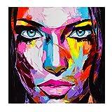 N / A Cuchillo Que Pinta la Cara Colorida Impresiones de la Lona para la Sala de Estar Decoración del hogar Retrato Pintura Figuras Imágenes60x60cm