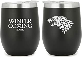 FIRE & ICE - House Stark Black Stainless Steel Double Insulated Stemless 12oz Mug (1 MUG) - Metal Straw with Cleaning Brus...