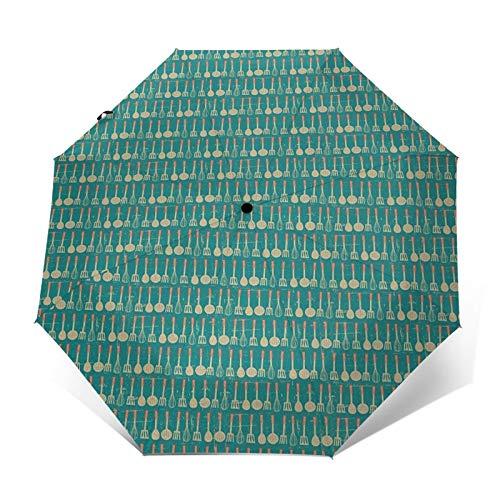 Paraguas Plegable Automático Impermeable Batidor de Utensilios de Cocina Colgante, Paraguas De Viaje Compacto a Prueba De Viento, Folding Umbrella, Dosel Reforzado, Mango Ergonómico