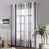 MIULEE Voile Vorhang Transparente Gardine aus Voile mit Ösen Schlaufenschal Ösenschals Transparent Fensterschal Wohnzimmer Schlafzimmer 2er Set 140x145 cm Weiß + Grau - 5