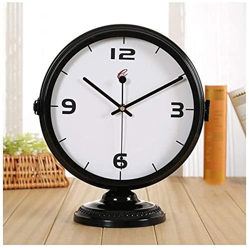 Relojes de moda Párese del escritorio del reloj mudo moderno minimalista de doble cara escritorio del reloj de la sala de estar Estilo creativo Europea Asiento de reloj de péndulo del reloj del escrit