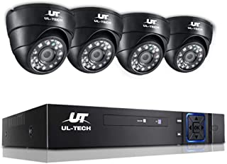 UL-TECH 4pcs IP Camera,1080p HD 4C Security Bullet Camera System with 20m Night Vision,Powerful 5-In-1 DVR,IP66 All-weathe...