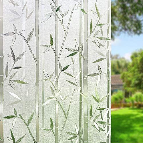 UMI.3D Fensterfolie Sichtschutz Folie Fenster Selbstklebend für Badezimmer Schlafzimmer Küche (Bambus (90 x 200 cm)