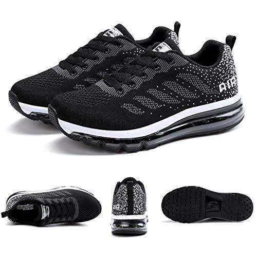 Smarten Zapatillas de Running Hombre Mujer Air Correr Deportes Calzado Verano Comodos Zapatillas Sport Black White 40 EU