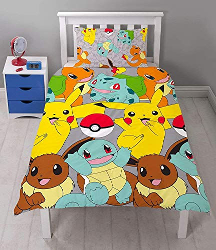 Pokemon Catch' Single Duvet Set-Repeat Pattern Design, 100% Polyester Microfibre, Multi-Colour