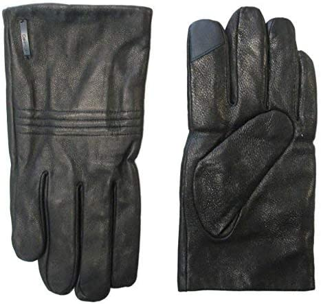 Calvin Klein Leather Basic Quilted Knuckle Winter Touchscreen Gloves Black XL