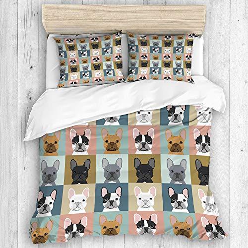 BEITUOLA Set Biancheria da Letto,Bulldog Francese Tema Animali,1 Copripiumino 200 x 200cm + 2 federe 50 x 80cm