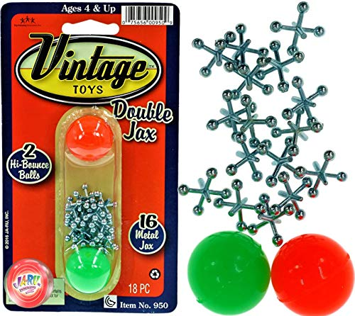 Vintage Toys Double Jax Retro 2 Hi-Bounce Balls & 16 Metal Jacks In/Outdoor Toy small