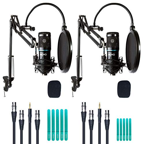Movo 2-Pack Universal Cardioid Condenser Microphone Kit with Articulating Scissor Arm Mic Stand, Shock Mount and Gooseneck Pop Filter - Home Studio Equipment Set for YouTube, Podcast, Streaming, ASMR