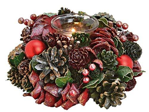 meindekoartikel Weihnachtskranz Adventsgesteck Weihnachtsgesteck aus Holz und Kunststoff mit Windlicht aus Glas für Teelicht (Bordeaux-grün-Glitter) Ø19 x H9 cm