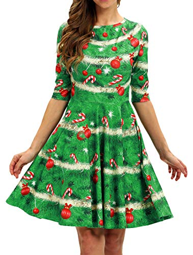 BarbedRose Women 3D Print Round Neck Short Sleeve Unique Casual Flared Midi Dress,Ugly Christmas Tree,L/XL