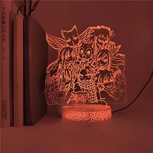 Cola de hada luminosa base agrietada luz nocturna luz de visión 3D luz LED multicolor decoración creativa lámpara de mesa pequeña acrílico luz multicolor