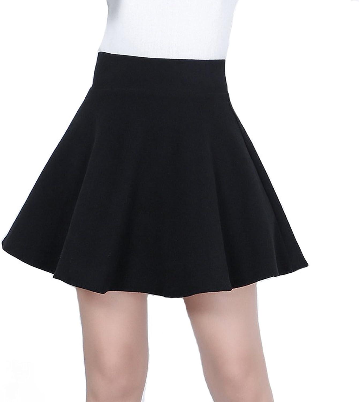 BeLuring Womens High Waist ALine Pleated Knee Length Skirt