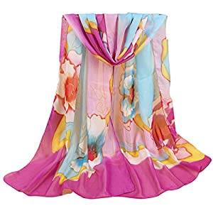 NNuodekeU Women's Silk Scarf Gardenia Big Flower Chiffon Long Silk Scarf Women's Spring Scarf 1 Piece (Picture Color)