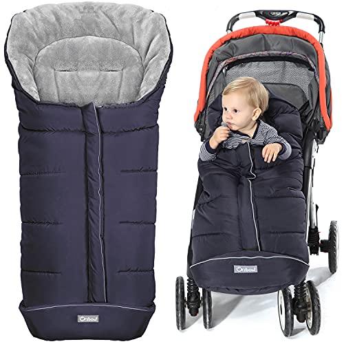 Orzbow Saco silla paseo invierno Universal para Cochecito y Silla de paseo - para carro bebe,capazo - Impermeable a Prueba de Viento Hasta -10° (Azul,0-12 Meses)