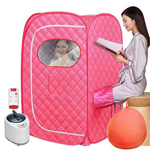 1000W Portable Steam Sauna Spa for Home Use, Foldable Sauna Tent for Detox Relaxation, Personal Therapeutic Sauna with Remote Control Fumigation Machine Storage Bag (Pink)