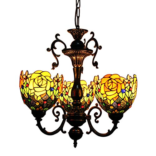 Makenier Vintage Tiffany Style Stained Glass Rose Flower Shade 3 Arms Chandelier