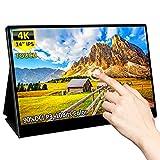 4K モバイルタッチモニター Eleduino 14インチ UHD IPSパネル PCモニター 500Nit輝度 1074M 10Bit表示色 100% Adobe色域 HDRを支持 USB Type-C*2/HDMI端子 ワイドスクリーンバックライト LCD モバイルモニター
