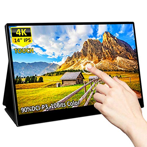 4K Portable Touch Monitor for LaptopEleduino 14 Inch IPS UHD Display500Nit 10bit 1 Billion Colors 90% DCIP3HDR 4001xHdmi 2xUSB TypeC Ports Widescreen Backlit LCD Mobile Display