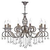 Lustre, Suspension Bougeoir, chandelier, style classique, chic, magnefique, 10 lampes, armature en Métal couleur bronze decoré avec pendeloques en cristal, Effet Bougies, E14, 60W 220-240V …