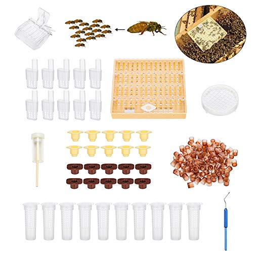 Königinnenzucht,Bienenzucht Imkerei Catcher Box Catcher Käfig Bienenwächter Werkzeuge Imkerei Box Set, 100 Cell Cups Tool Set