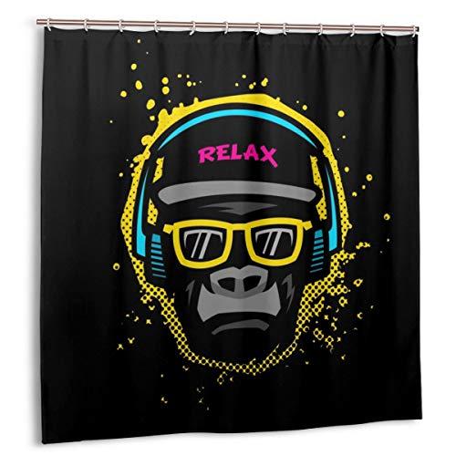 MAYUES Cortina de baño, Mono con Gafas y Auriculares Juego de Cortinas de baño con Ganchos