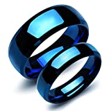 Fate Love Stainless Steel Our Love Pure as The Sea Noble Ocean Blue Couple Rings Wedding Band,New Box