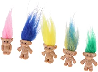 Dolity Set of 5 Pieces High Quality PVC Lucky Troll Dolls Leprocauns Doll Little Guys Toy Model Cake Toppers Party Favors