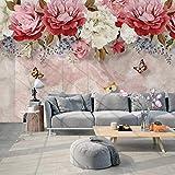 XIAOHUKK Papel tapiz autoadhesivo 3d impermeable PVC vinilo pintado a mano planta flor mariposa pastoral gran mural para el hogar dormitorio decoración de muebles de cocina