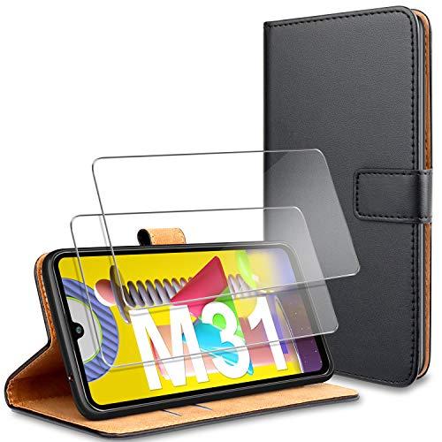 YNMEacc Samsung M31 Hülle, [2 Stück] Panzerglas Schutzfolie + Premium Handy Schutzhülle, Leder Wallet Tasche Flip Brieftasche Etui Schale für Samsung Galaxy M31 Hülle - Schwarz