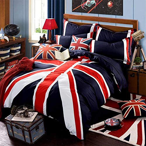 Generic Brands Single Duvet Cover Bed Set Navy Blue Red Union Jack Printed Bedding SetKing220*240cm