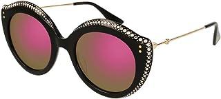 f08c238435d GUCCI CRYSTAL LIPS 0214 Cat Eye Black Green Pink Mirrored Stud Sunglasses  GG0214S