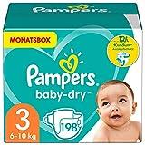 Pampers Windeln Größe 3 (6-10kg) Baby Dry, 198 Stück, MONATSBOX