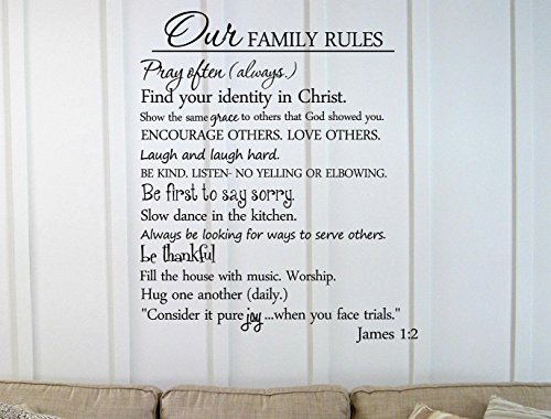 Decalgeek Vinyl Wall Art Decal Inspirational Quote Sticker, Our Family Rules