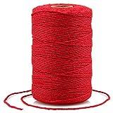 200M Cuerda de algodón,2MM Cuerda de manualidades,cordel de jardín,Cordel Hilo de panadero, para jardinería,Envolver Regalos, Hornear, Manualidades(rojo)