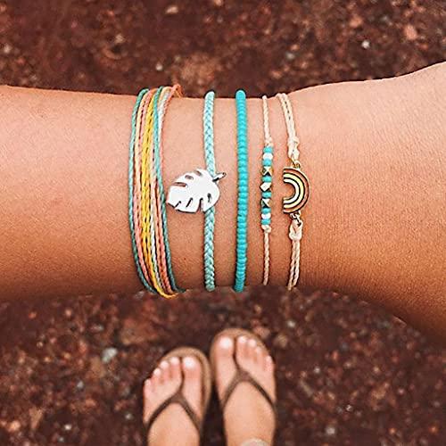 Branets Pulseras de hojas en capas Boho Pulsera de arcoíris Pulsera de cadena de mano con cuentas ajustable para mujeres y niñas (5 piezas)