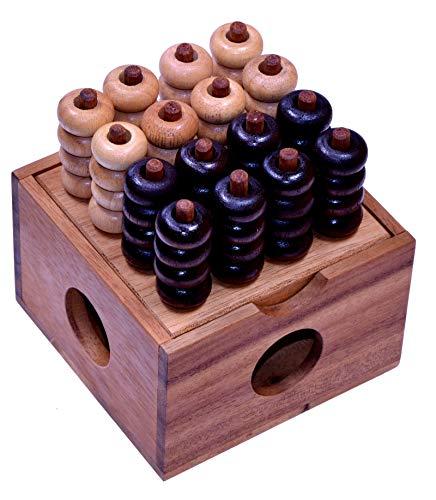 Vier in einer Reihe 3D 4x4 - 3D Bingo 4x4 - Raummühle - Viererreihe 3D - Strategiespiel - Denkspiel aus Holz