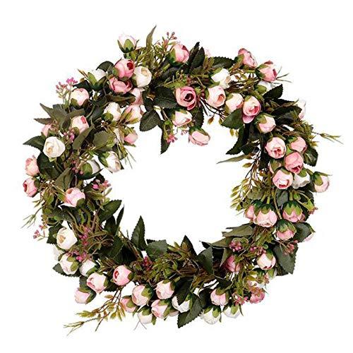LUONE Corona de Navidad, la simulación de la Guirnalda de brotes de Rose del árbol Navidad Decorado Guirnalda Adornos Puerta de la Vendimia Que cuelga decoración del hogar día Fiesta la joyería