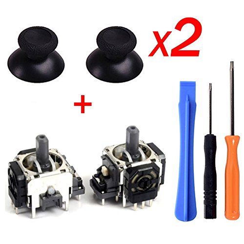 Yoogeer 2Pcs Black 3D Controller Joystick Axis Analog Sensor Module & ThumbStick for Xbox One with T8H T6 Screwdriver …