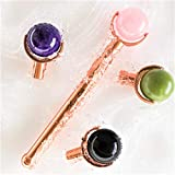 AUTHENTIC 4 INTERCHANGEABLE NATURAL Rose Quarts Face Roller - Jade Roller Amethyst Obsidian for...