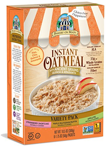 Bakery on Main Gluten Free Non-GMO Instant Oatmeal, Variety Pack, 10.5 Ounce Box
