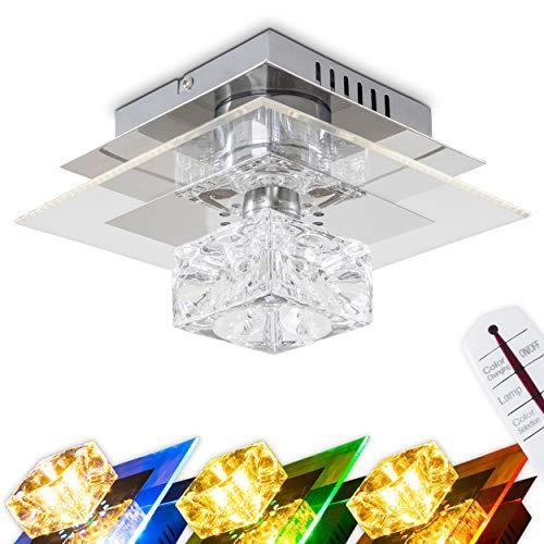 LED Deckenleuchte Christy, eckige Deckenlampe aus Metall u. Kunststoff in Chrom, 1 x G4 max 20 Watt u. 12 x LED 0,06 Watt (inkl. Leuchtmittel), mit Farbwechsler u. Fernbedienung