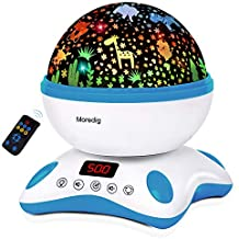 Moredig Baby Projector with Timer and Remote Built-in 12 Light Songs 360 Degree Rotating 8 Colorful Lights, Romantic Night Lighting Lamp for Birthday, Parties, Bedroom (Blue White)