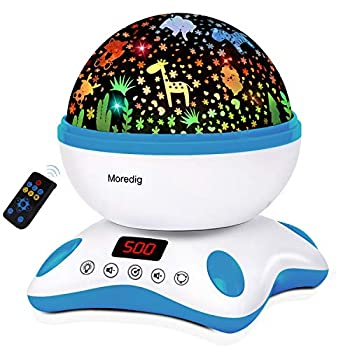 Moredig Baby Projector with Timer and Remote Built-in 12 Light Songs 360 Degree Rotating 8 Colorful Lights for Birthday Parties Bedroom  Blue White