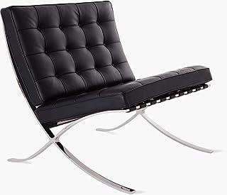 Renoster Silla clásica de salón, asiento plegable, superficie de cojín cubierta en piel auténtica con marco de acero inoxidable para dormitorio, sala de lectura, color negro