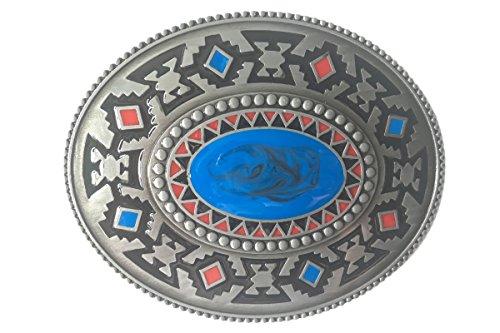 Bai You Mei occidental vaquero azul joya hecha a mano hebilla de cinturón oval